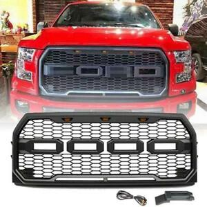 For 2015 2017 Ford F 150 Raptor Style Amber Led Front Bumper Grille Grill W Logo