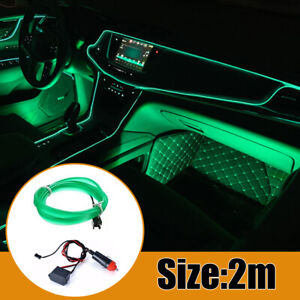 2m Led Car Interior Decor Atmosphere Wire Strip Light Lamp Kit Accessories Green
