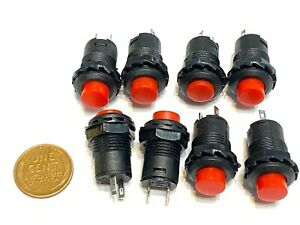 8 Pieces 12v Red Self Locking Push Button Switch Latching On off Ds 228 Spst C7