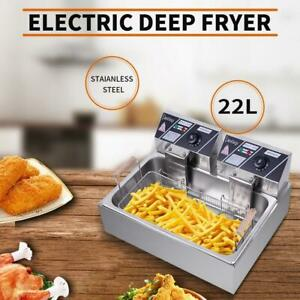 Upgrade 22l Electric Deep Fryer Commercial Restaurant Stainless Steel 5000w 2020