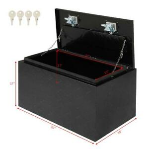 30 Truck pickup Bed Trailer Tongue Aluminum Tool Box Tote Storage Lock Black