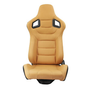 1pc Universal Racing Seat Yellow Pvc Leather Stitching Carbon Fiber Recline Left