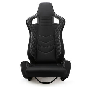 1x Reclinable Black Pvc Leather Driver Racing Bucket Seat W 2 Sliders Left Side