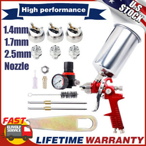Hvlp Air Feed Spray Gun Kit Car Paint Primer Clearcoat 1 4mm 1 7 2 5mm Nozzle
