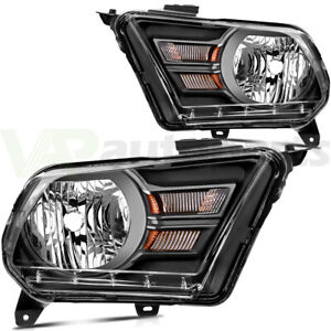 Fits 2010 2014 Ford Mustang Headlights Left Right Sides Replacement Headlamps