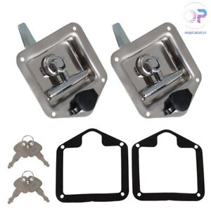 Trailer Door Latch T handle Locking Camper Rv Truck Tool Box Trailer W Key 2pcs