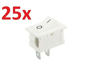 25 X White Latching Rocker Switch 2 Pin Off On Lot 12v 24v Dc C23