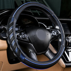 Car Steering Wheel Cover Leather Universal Auto Accessories Massage Blue Black
