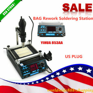 3 In 1 853aaa Soldering Station Bga Rework Preheating Hot Air Gun Solder Iron Us