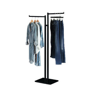 Commercial Grade Garment Clothing Rack Square Tubing With Rectangular 2 Way St