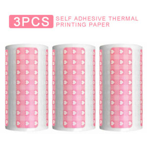 3 Rolls Pink Cartoon Thermal Labels Papers For Peripage Printer Adhesive Sticker