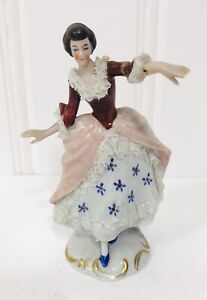 Vintage Porcelain Lace Germany Victorian Lady Dancing Figurine 5 Tall