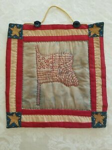 Primitive Fabric American Flag Wall Hanging Embroidery And Quilted Handmade
