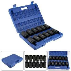 12pcs 1 Inch Durable Drive Deep Impact Socket Set 24 41mm With Blue Case Us