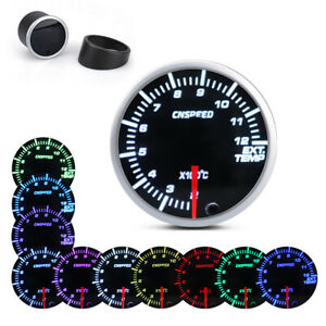 2 52mm Car Pointer Exhaust Gas Temperature Temp Gauge Ext Meter 10 Color Led