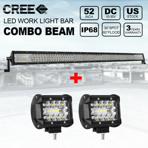 52 inch 1000w Tri Row Combo Led Light Bar Offroad 2x 4 200w Pods Cube Lights