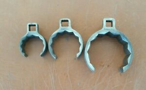 3pc Vintage Snap On 1 2 Dr Flare Nut Crowfoot Wrench Lot 2 13 16 2 1 1 2