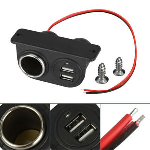 Car Cigarette Lighter Auxiliary Dual Usb Charger Power Outlet Socket Adapter 12v