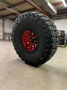 17x9 Fuel D695 Covert Red Wheels 40 Yokohama Mt Tires 5x5 Jeep Wrangler Jl Jk