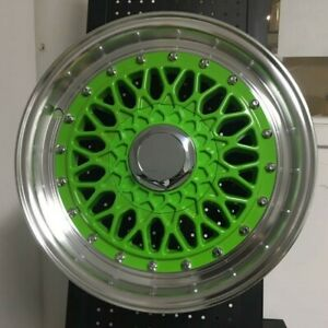 15 Rs Classic Style Green Rims Wheels 4x100 Fits Acura Integra Ls Gs Gsr