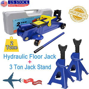 2 Tons Trolley Jack Hydraulic Emergency Car Tyre Repair Changing Kit Jack Stands