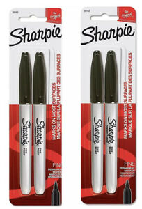 Sharpie Black Fine Point Permanent Markers 2 Packs 4 Markers Total Free Ship