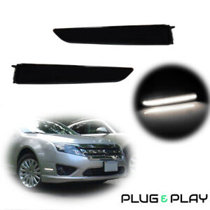 White Led Front Side Marker signal Lights Smoked Lens For 2010 2012 Ford Fusion