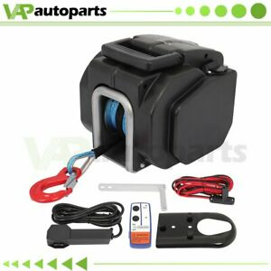 5000lb Truck Trailer Boat Electric Winch Atv Utv 12v Synthetic Cable 33ft