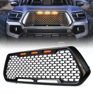 For 2016 2021 Toyota Tacoma Black Front Grille W Drl Led Turn Signal Lights