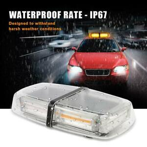 Amber Rooftop 6led Strobe Light Bar W Magnetic Base Double Side Flashing Lamp