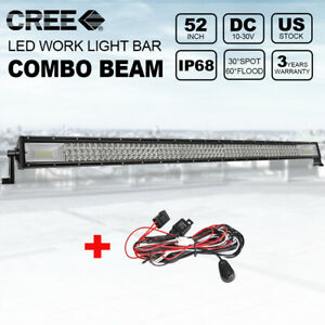 52 Inch Tri Row Led Light Bar 720w Spot Flood Off Road Driving Lamp Wiring