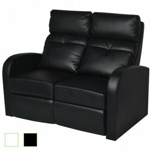 Home Theater 2 seat Recliner Artificial Leather Lounge Movie Seats Black white