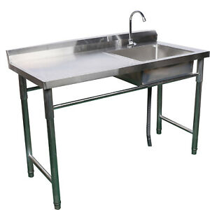 1set Stainless Steel Commercial Kitchen Deep Sink Faucet Single Bowl Heavy Duty