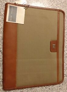 Cutter And Buck Mens Leather Brown Zip Portfolio Organizer Padfolio New With Tag