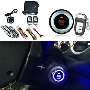 Car Alarm Ignition Start Security System Key Engine Start Push Button Remote Kit