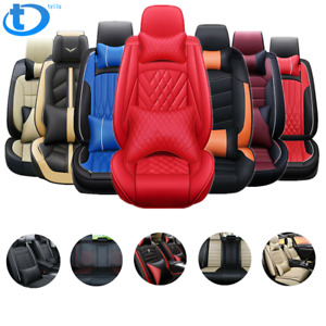 5 Seats Car Seat Covers Deluxe Pu Leather Full Set W Pillow 14pc Universal Fit