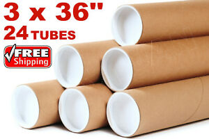 3 X 36 Kraft Tubes Poster Document Graphics Mailing Shipping Packing 24 Tubes