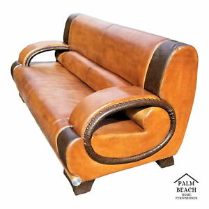 Exceptional Vintage Custom Made Mcm Real Leather And Crocodile Skin Sofa
