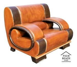 Exceptional Vintage Custom Made Mcm Real Leather And Crocodile Lounge Club Chair