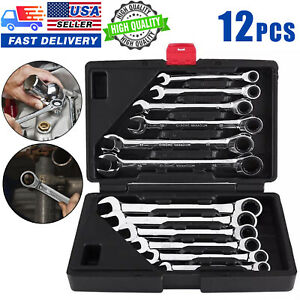 Usa 12pc Ratcheting Combination Wrench Set Sae Inch Imperial Metric 8 19mm Tool