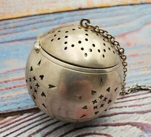Sterling Silver Tea Ball Pierced With Chain