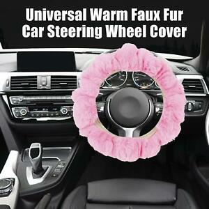Pink Winter Warm Durable Faux Fur Car Steering Wheel Cover Replacement Universal