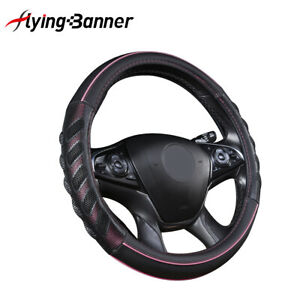 Auto Car Steering Wheel Cover Leather Universal Accessories Pink Black Anti slip