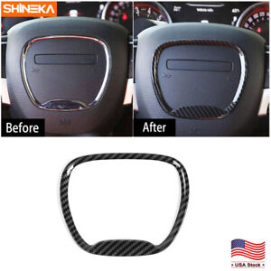 Real Carbon Fiber Steering Wheel Cover Trims For Dodge Challenger Charger 2015
