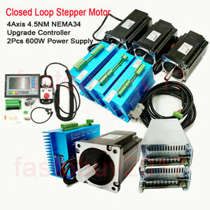 4axis Closed Loop Stepper Motor Nema34 4 5nm Driver controller power Supply Kit