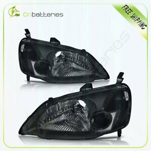 Clear Headlights Assembly For 2001 2003 Honda Civic Black Headlamps Lights Pair