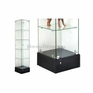 Rectangular Tempered All Glass Tower Display Showcase With Lock And Door