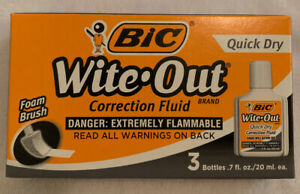 Bic Wite out Quick Dry Correction Fluid 20 Ml Bottle White 3 pack Wofqd324