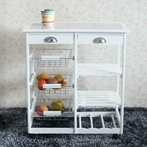 New Rolling Home Kitchen Island Trolley Cart Top Storage Cabinet Utility White