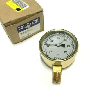 NOSHOK 25 300 300 Brass Case Pressure Gauge 300 psi $41.99